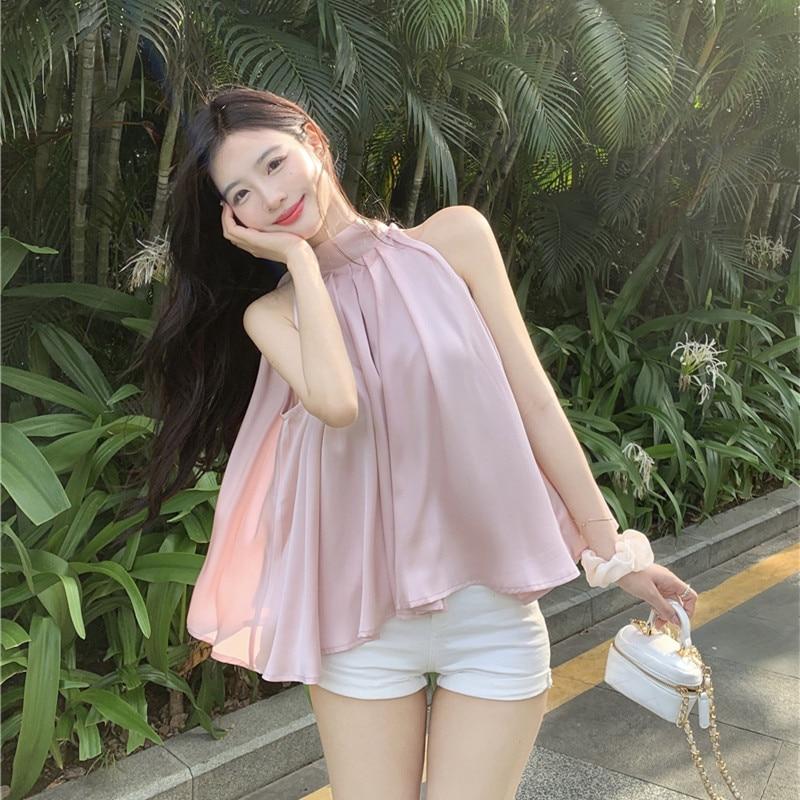 New 2021 Peach Pink Chiffon Shirt Women Summer Sleeveless Sweet Off Shoulder Top Fashionable All-match Folds Loose Womens Tops