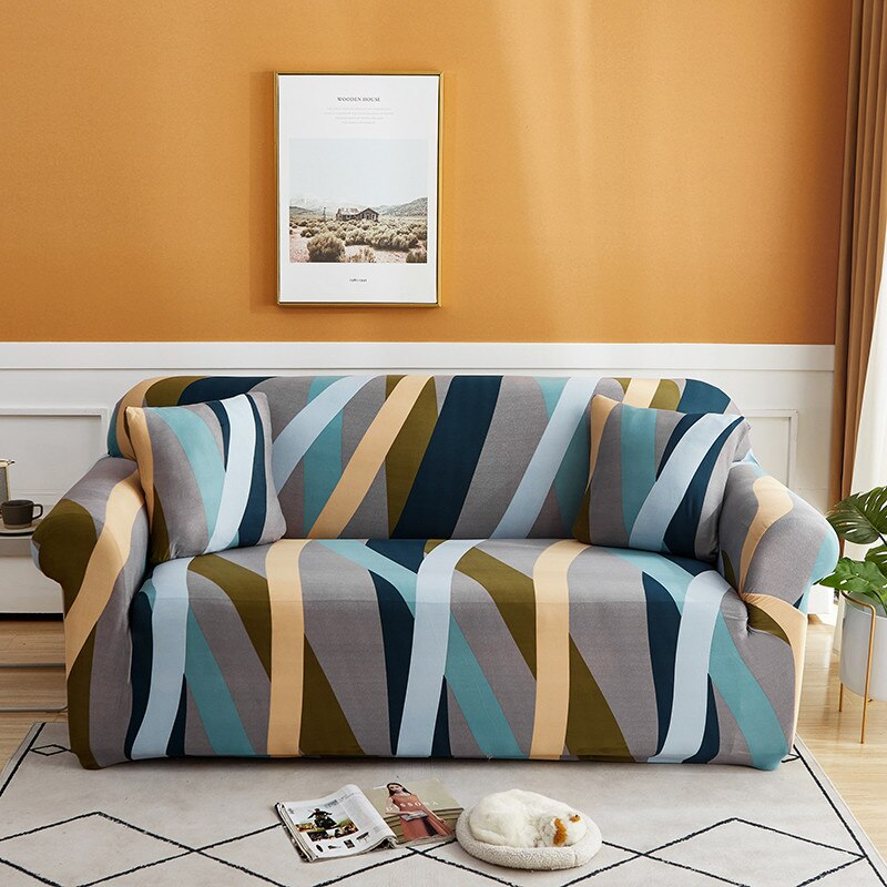 Elastic Four Seasons Universal Sofa Cover Geometric Stripes Sofa Cover All-inclusive Stretch Couch Protective Cover Sofa Covers