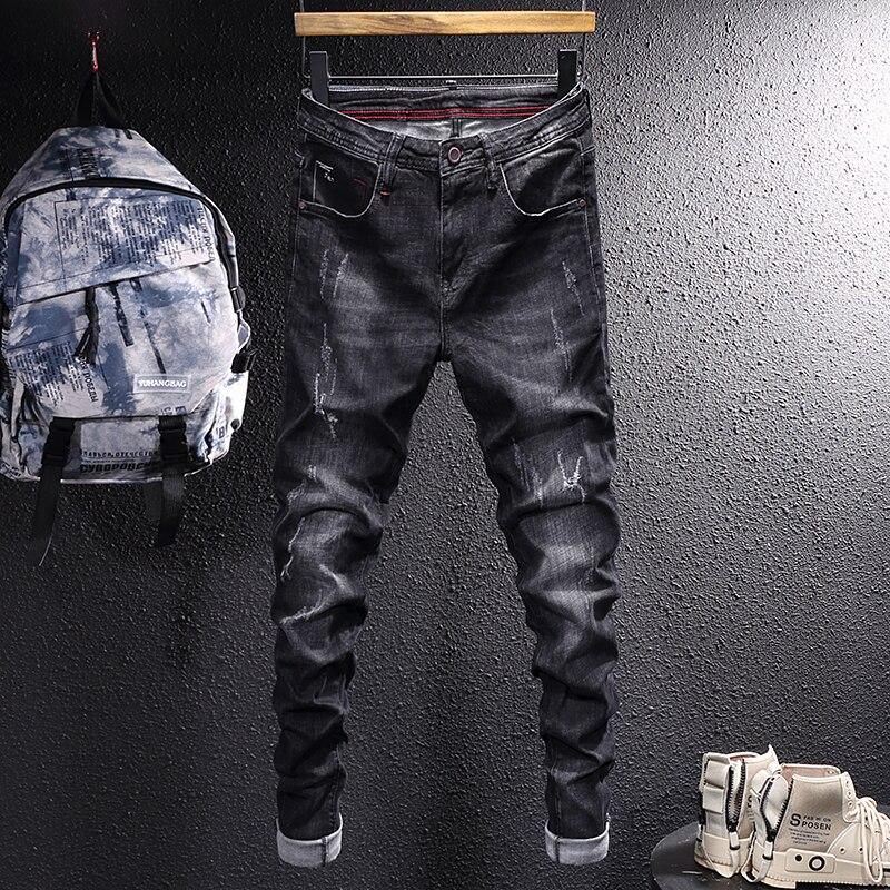 Европейские винтажные модные мужские джинсы, высококачественные Черные Эластичные зауженные рваные джинсы, мужские повседневные брюки-ка...