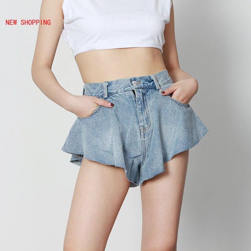 Sexy Ruffle Shorts 2021 New Spring Summer Fashion Light Blue Denim Washed Pockets Zippers Shorts High Waist Female Bottoms Y2k