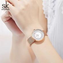 Shengke Dress Women's Watches Women Metal Mesh Fashion Clock Vintage Design Ladies Watch 2020 SK Luxury Brand Classical relogio