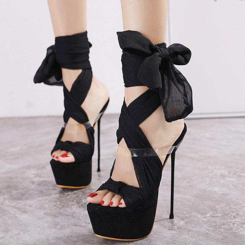 Gladiator Sandals 2021 New Women's Shoes Black Thin Heel High Heels  Platform Sandalias Feminina Lace Ankle Strap Party Pumps