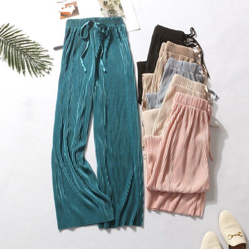 Pantalones de mujer Casual de cintura alta conciso todo-fósforo verano Pantalones de seda hielo nueve-cent pantalones de moda femenina Slacks