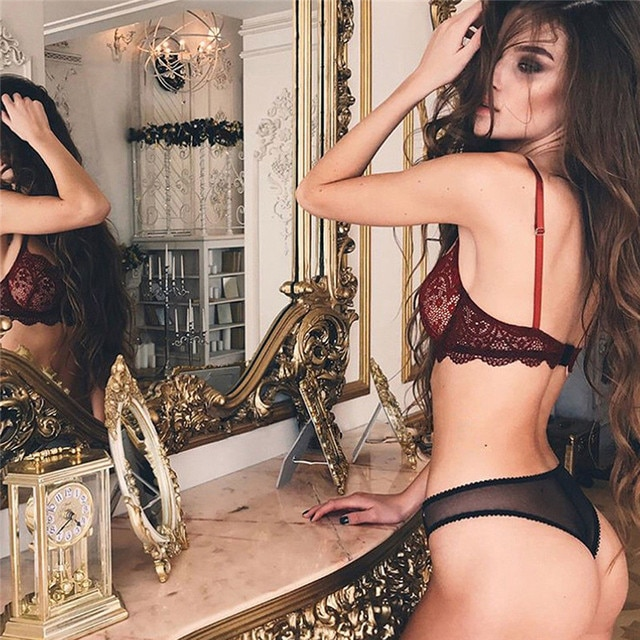 New Hot Fashion Lace Exotic Underwear Sets Clothes Sexy Bra Women Sexy Wine Red Lingerie G-string Nightwear Plus Size M-3XL 2