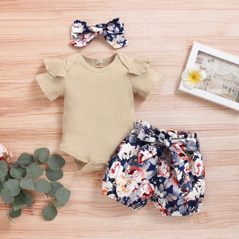 Toddler Baby Rompers Summer Casual Short Sleeve Solid Color Romper Tops Flower Shorts+ Free Headband