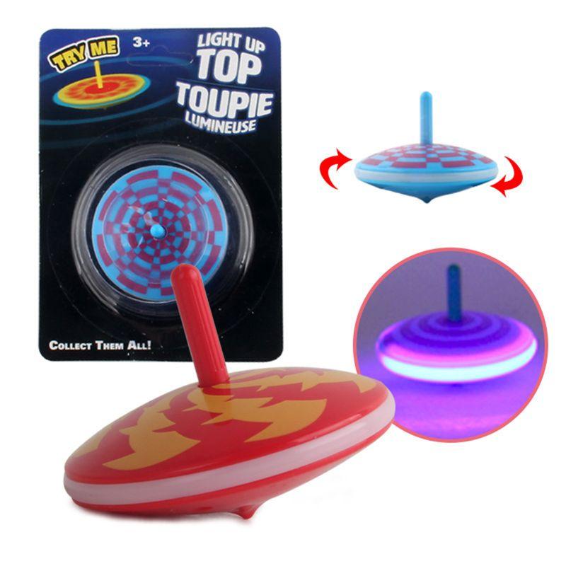 Borde de la luz de giro intermitente Spinning Tops fiesta favorece a los niños juguete de alivio de estrés Gyroscop