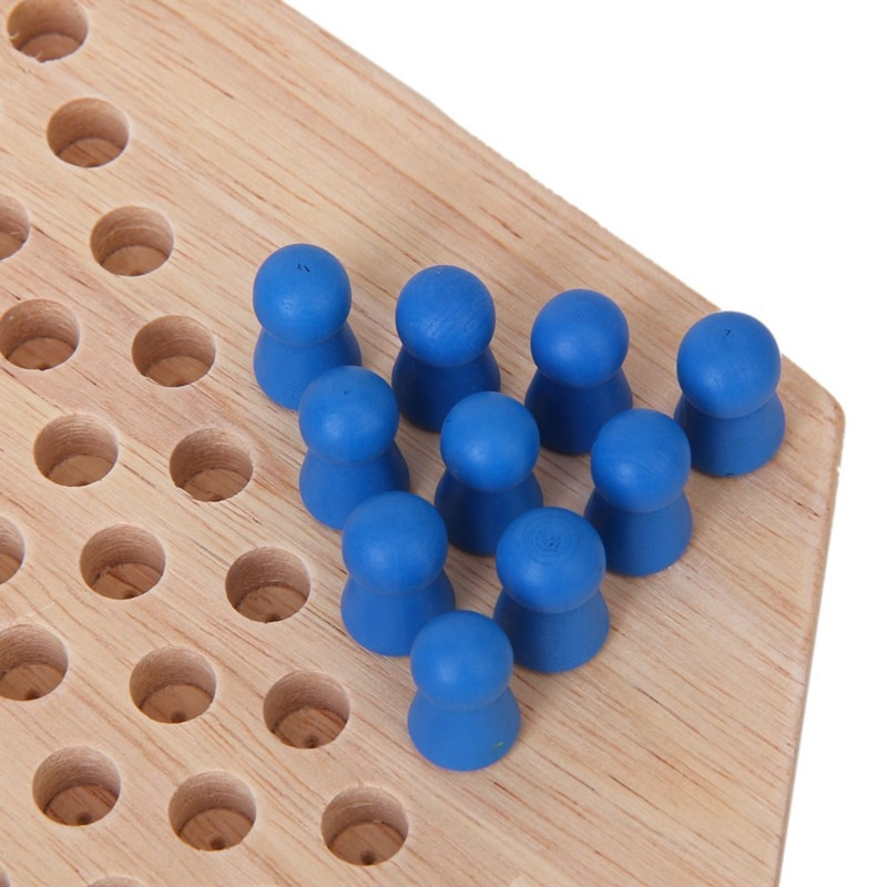 Traditional Hexagon Wooden Chinese Checkers Family Game Set enlarge