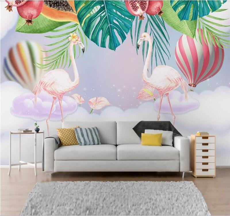 العرف خلفية الشمال ins الوردي زوجين فلامنغو غرفة الأطفال حائط الخلفية-مواد مقاومة للماء الراقية