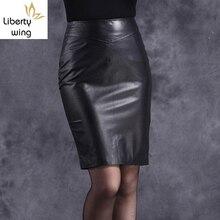 Qualität Heißer Verkauf Büro Dame Echtes Leder Schaffell Hohe Taille Mini Röcke Frauen OL Stil Weibliche Multi Farbe Plus Größe