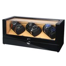 Watch Winder Shaker Box Case Storage Display Automatic Wooden Three Motors 6 Slots Watch Winder Rota