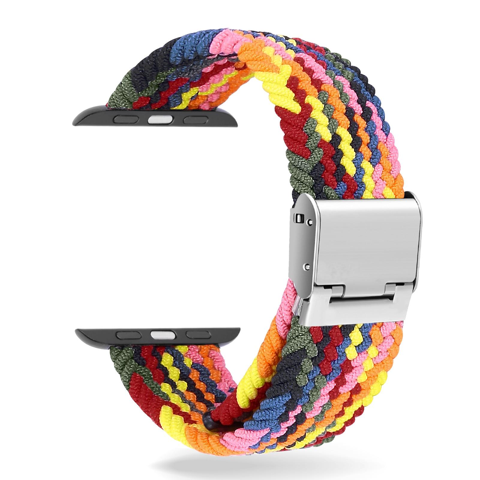 Braided Watchband for AppleWatch 6  44mm 40mm Accessories Nylon WristBand Bracelet Adjustable Braided Watchband