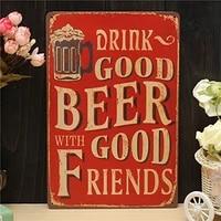 drink beer tin sign metal drawing metal painting tin shop pub wall tavern poster sign