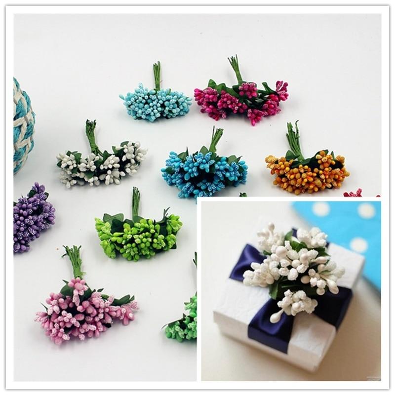 Artificial Bud estambres de baya Bacca para decoración de boda DIY reserva de chatarra de corona de flores PAK55
