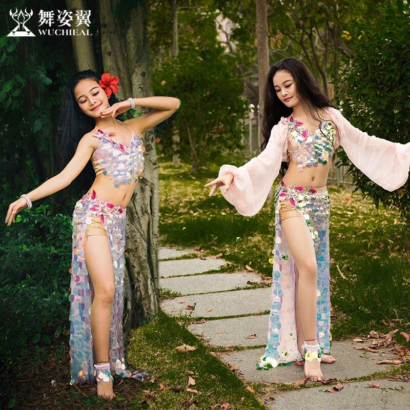 Детский костюм для танца живота, костюм с длинной юбкой и блестками для восточных танцев, RT353, 2019