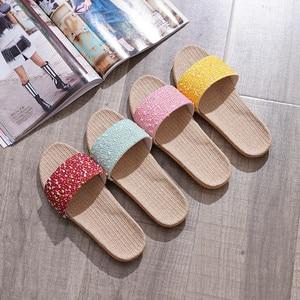 2020 Summer Women Breathable Slippers Couple Indoor Floor Linen Slides Ladies Bedroom Non-Slip Flax Flip Flops Female Flax Shoes