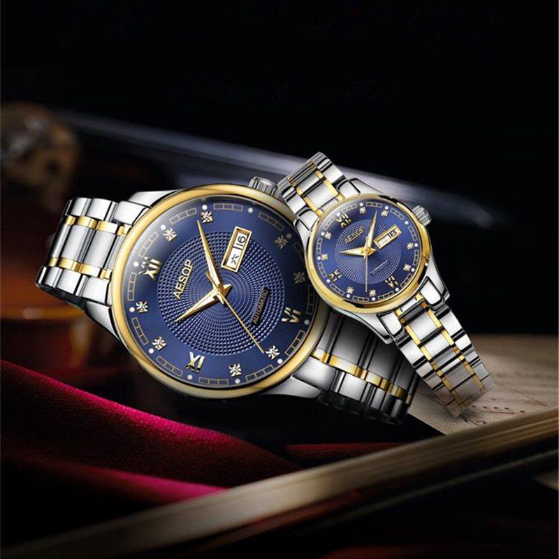 NIBOSI Top Luxury Japan Move Automatic Mechanical Lovers Wrist Watches Men Women Steel Date Couple Watch Clock Relogio Masculino