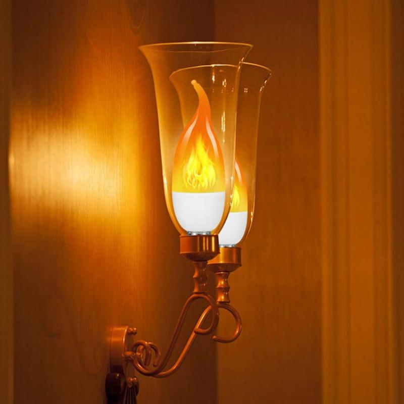 Led edison lâmpada 3/4 modo led chama fogo luz candlestick lâmpada e27 base lustre lâmpada vela interior decoração do jardim