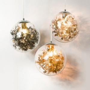 Modern Light Luxury Golden Transparent Glass Ball Chandelier for Living Room Dining Room Chandelier Golden Petal Glass Ball