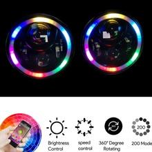 Phares Halo RGB 7 pouces   Pour Jeep Wrangler, application dassemblage, télécommande Bluetooth pour Jeep Wrangler TJ JK Hummer H1 phare H2
