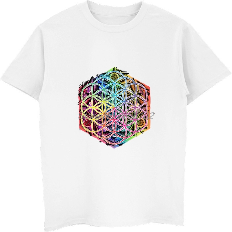 Nueva flor geométrica sacra de la vida Mandala Color familia hombres negro manga corta Camiseta camisetas únicas camisetas Harajuku