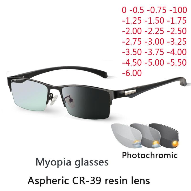 New Sun Photochromic Myopia Eyeglasses Optical Men student Finished Myopia Eyewear prescription Glas