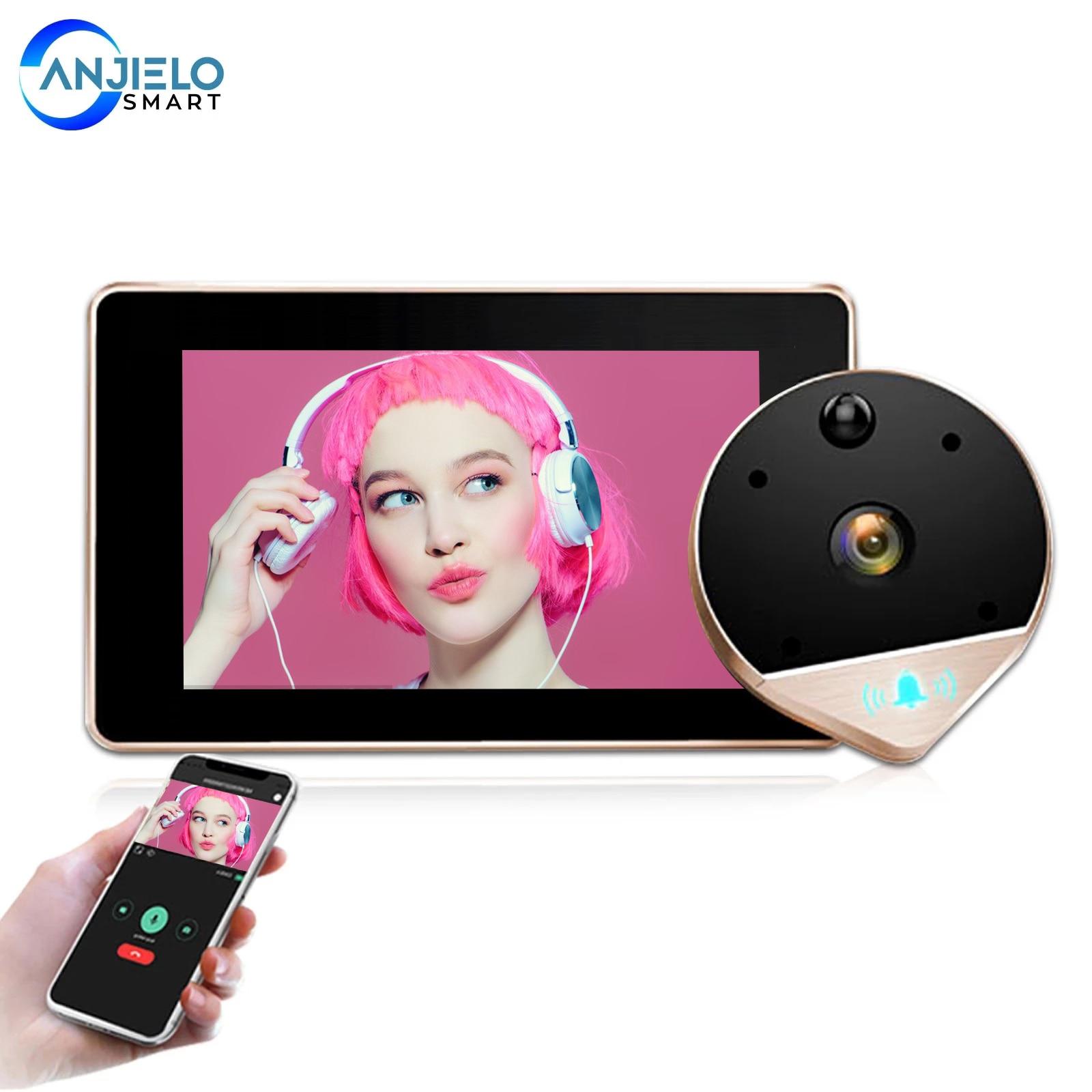 1080P HD واي فاي فيديو ثقب الباب الجرس مع 4.3