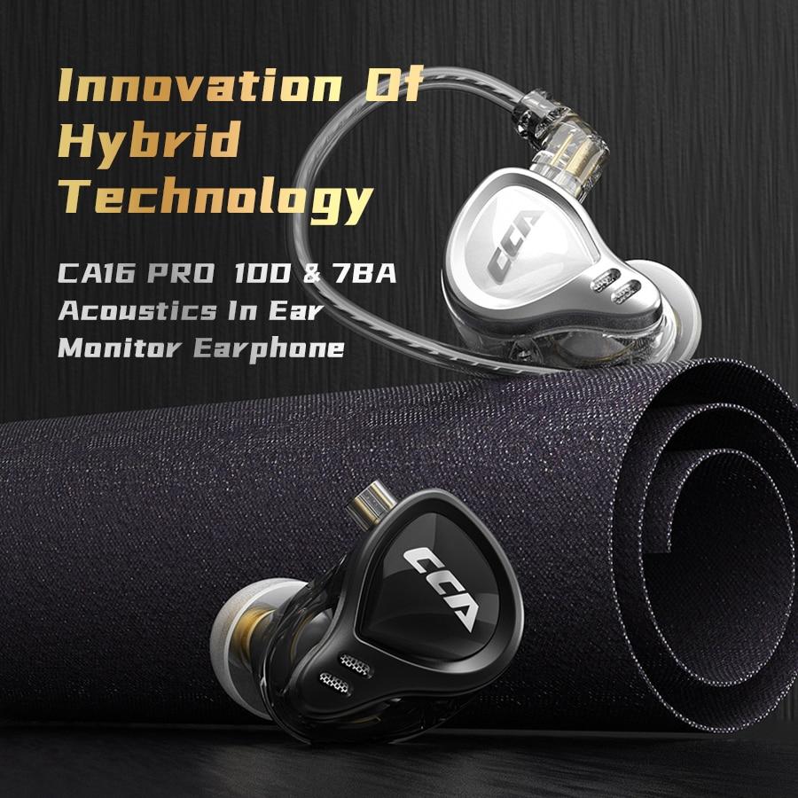 CCA CA16pro وحدات سماعات 7BA + 1DD ديناميكية الهجين سماعات ايفي باس الرياضة سماعة إلغاء الضوضاء في الأذن شاشات