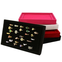 Joyería de terciopelo anillos arete insertar pulsera de visualización soporte para presentación de joyería bandeja organizador caja de madera plana apilable bandeja titular