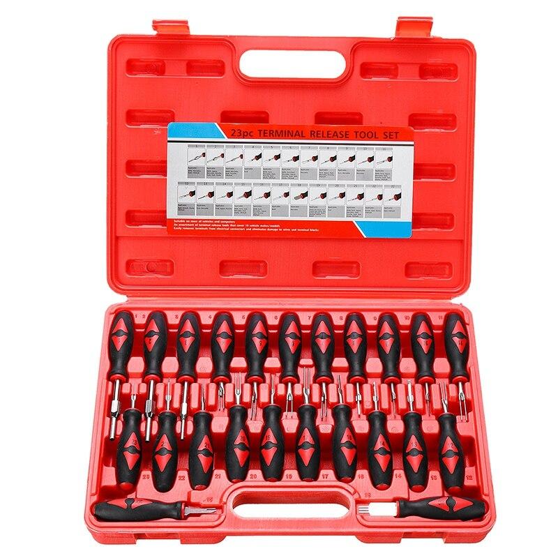Ferramentas de liberação terminal universal, ferramenta removedora de coleira, pacote, kit de ferramentas manuais com caixa de ferramentas de plástico, 23 peças