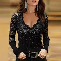 Sexy blouse Women's Sexy Sequin Lace Hot Drilling Long Sleeve Solid Color Pullover Tops Black Ladies Elegant Tops ropa mujer