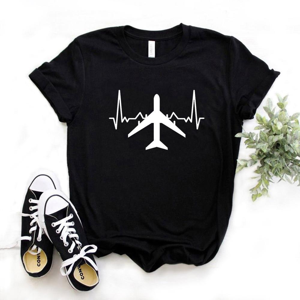 Plane Heartbeat Print mujer camiseta algodón Casual divertida camiseta regalo Lady Yong Girl camiseta Superior 6 colores A-1107