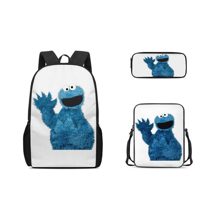 Настраиваемый детский школьный рюкзак из 3 предметов, детский рюкзак с рисунком из мультфильма «Улица Сезам», «печенья Мон», детский школьн...