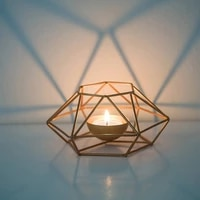 touch nordic style 3d geometric candlestick metal wall candle holder sconce matching small tea light taper candle holder