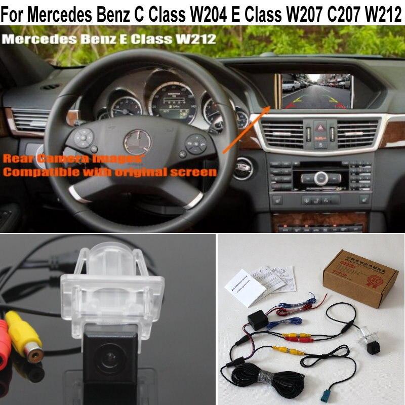 Para mercedes benz classe c w204 e classe w207 c207 w212 e200 e230 e350 e250 rca & tela original compatível hd câmera de visão traseira