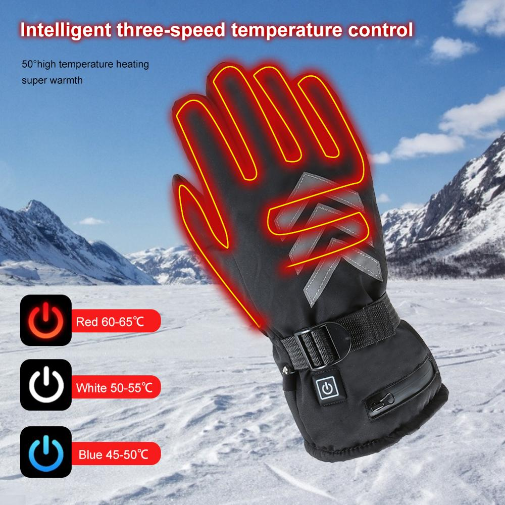 2600mAh Heated Gloves Rechargeable3 Gears Adjustable Heated Gloves Winter Gloves for Motorcycle Ski Climbing Cafe Racer Accessor enlarge