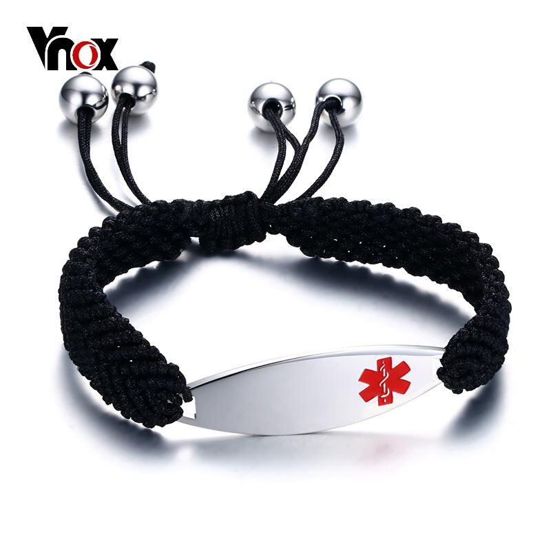 Vnox grabado gratis brazaletes médicos ID para mujeres Acero inoxidable alerta de emergencia joyería cadena trenzada longitud ajustable
