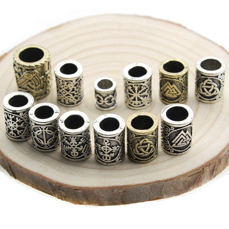 2pcs Viking Runes Beads Charms TIWAZ TYR Sol rune Odal Futhark Rune Pendant for Hair Beard Dreadlock