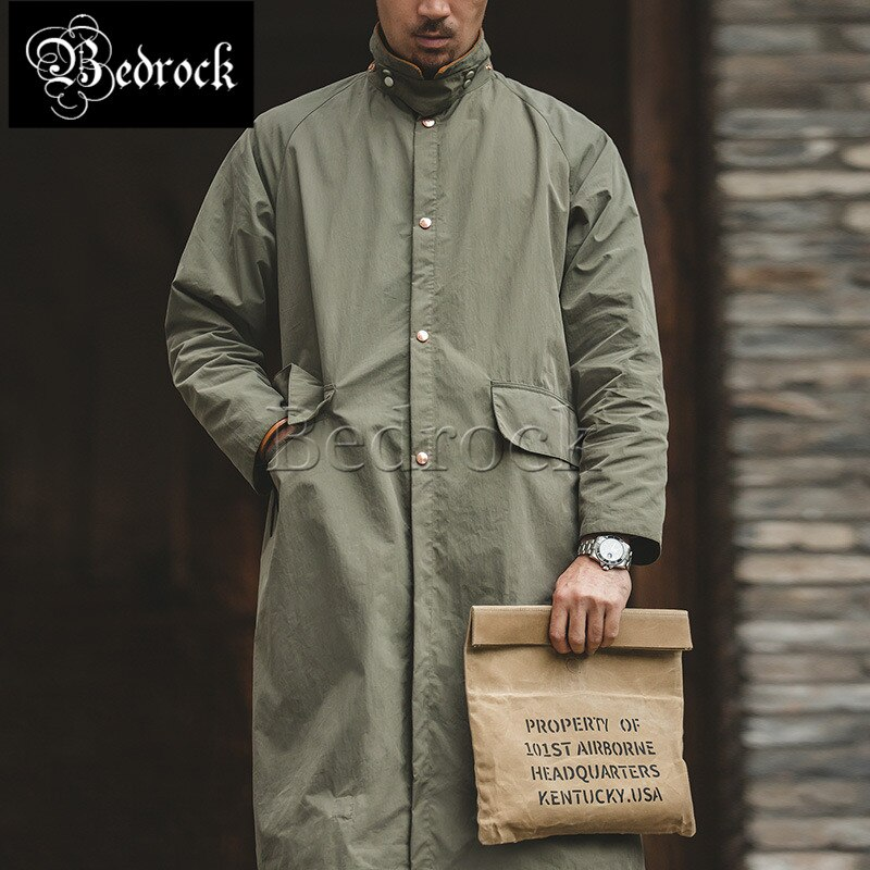 Retro hooded long over-the-knee riding windbreaker drawstring hooded corduroy stitching coat windproof warm jacket men Bedrock