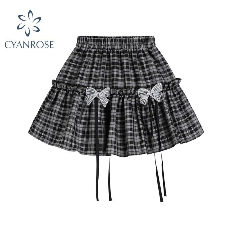 اليابانية Harajuku Kawaii أسود أبيض منقوشة كعكة التنانير الإناث فاسق لوليتا القوس تنورة صغيرة الصيف 2021 الفتيات لطيف التنانير غير رسمية