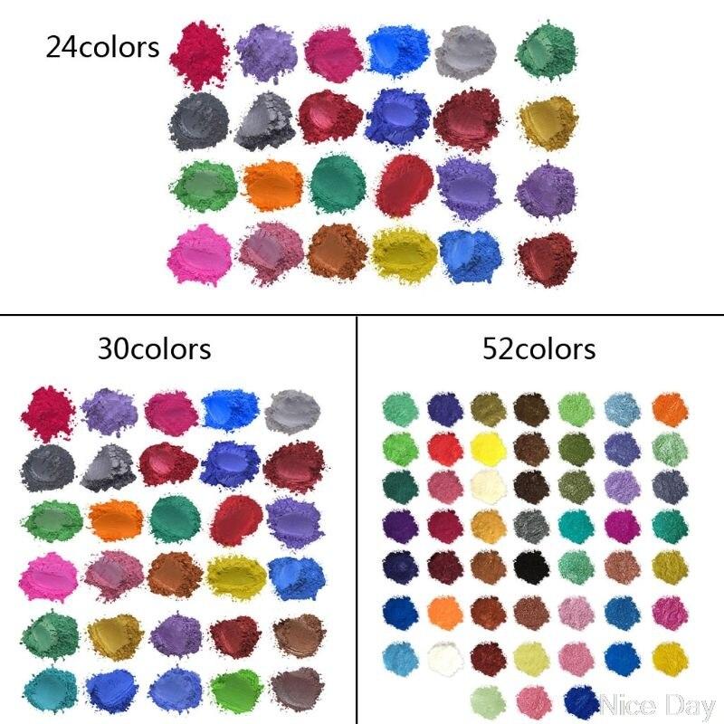 52 colores polvo de Mica perlado resina de pigmento colorante piel segura DIY resina artesanía A08 20 Dropship