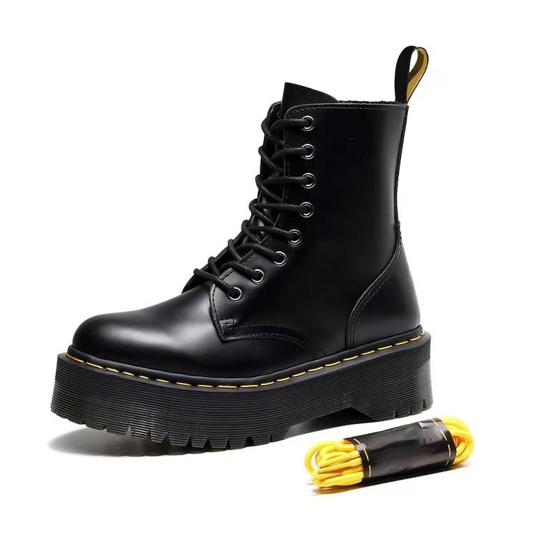 Platform Martens Boots Women Shoes 2020 New Black Leather Ankle Boots Women Punk Shoes Thick Bottom