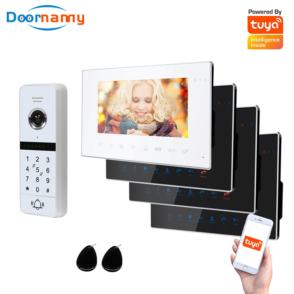 Doornanny WiFi Video Intercom Kit Villa Apartment System 1Doorbell 4Home Doorphone Video Call AHD 960P Tuya APP Remote Unlock