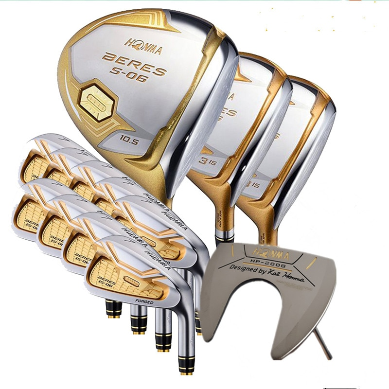 HONMA Golf Clubs Complete Set Honma Men's Bere S-06 4 Star Golf Club Sets Driver+Fairway+Golf iron+putter/14Pcs( No Golf Bag)