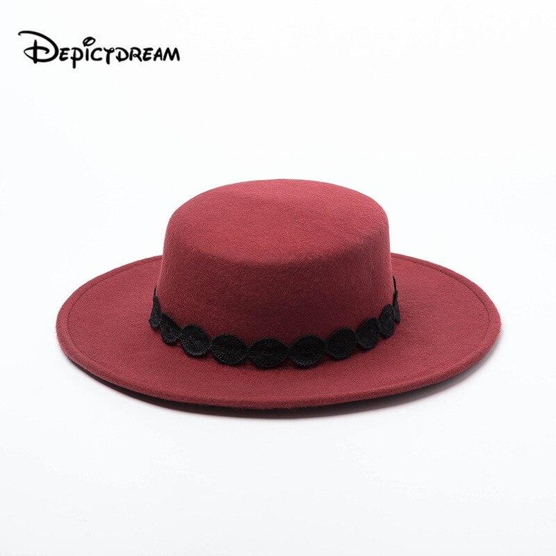 Outono inverno nova fita de renda de lã decoração plana chapéu para feltro aba larga chapéu fedora laday bowler jogador chapéu superior