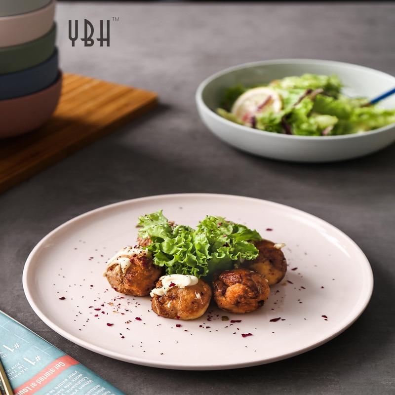 الشمال الحد الأدنى الغربية لوحة طبق ستيك أدوات مائدة سيراميك أطباق فاكهه الإبداعية ضوء صغير فاخر الإفطار طبق للوجبات الخفيفة