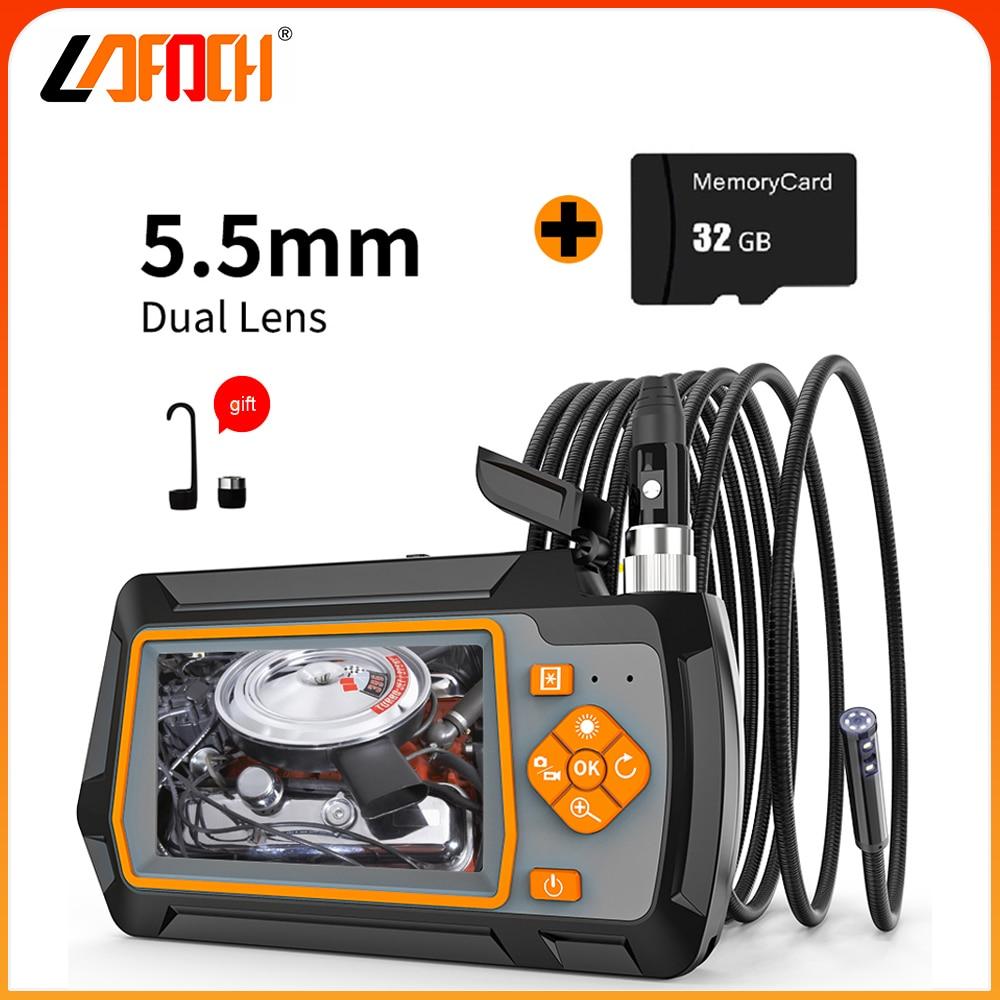Get Dual Lens 5.5mm Endoscope IP67 Waterproof Camera Inspection Engine Drain Pipe Camera Borescope for Engine check Pipeline repair