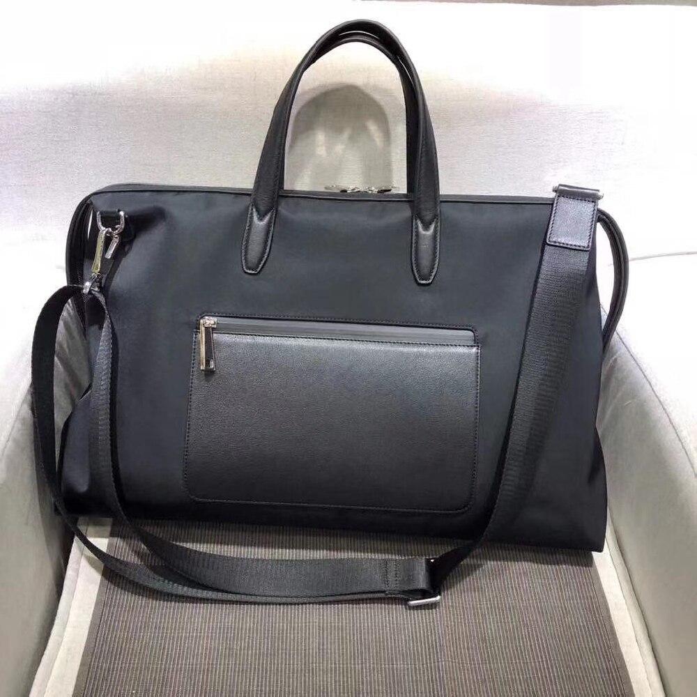 Men's black nylon and leather travel bag waterproof travel bag casual business handbag large capacity messenger bag