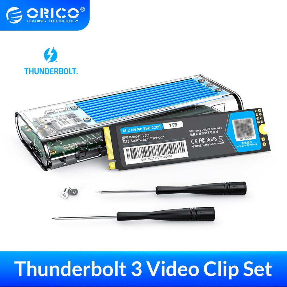 ORICO Portable SSD Thunderbolt 3 40Gbps NVME M.2 SSD Case + 1TB SSD External SSD with Thunderbolt3 Type-C Cable For Video Clip