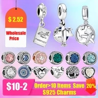925 sterling silver wholesale pandora plane charm heart tree mom bead fit pandora bracelet original silver jewelry for women