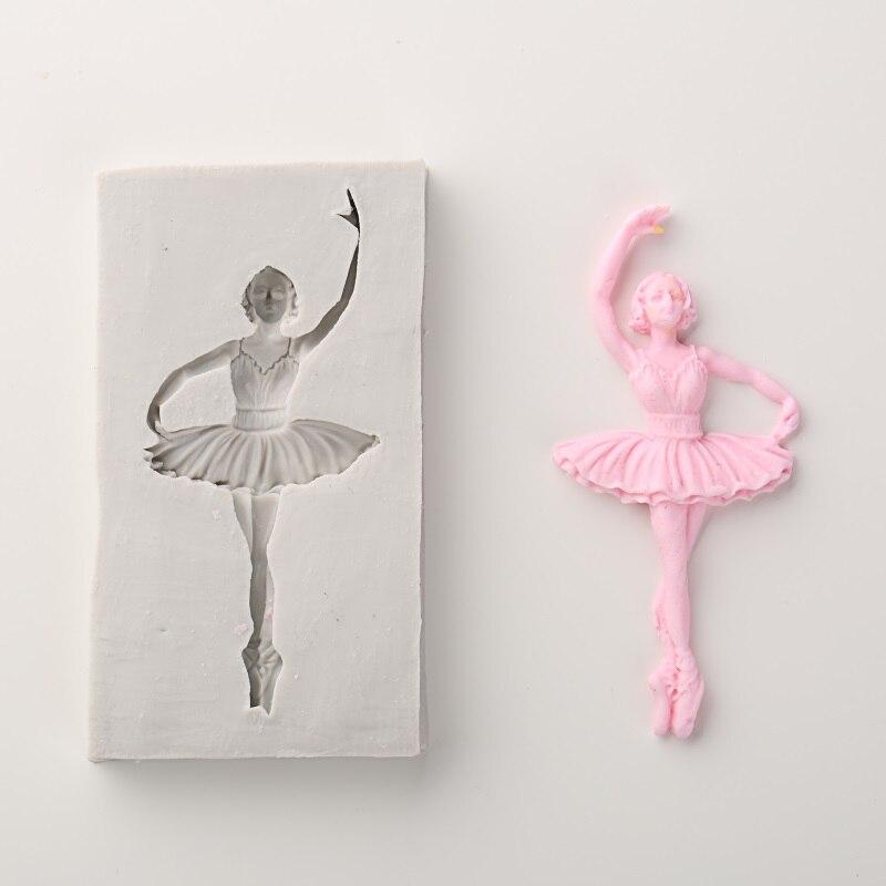 Elegante baile Ballet niña pastel molde de silicona moldes Fondant DIY pastel herramientas de decoración dulces Fimo arcilla Sugarcraft gumpasta molde